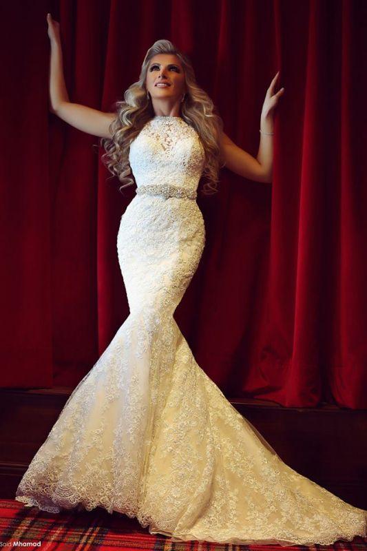 High Neck Beading Mermaid Wedding Dress Cheap Crystalss Belt Custom Made Court Train Bridal Gowns