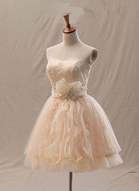 Elegant A-Line Mini Sweetheart Lace Homecoming Dresses with Crystal