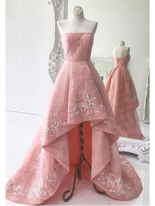 High-Low Strapless Custom Made A-line Embroidery Lace Exquisite Long Prom Dresses Cheap