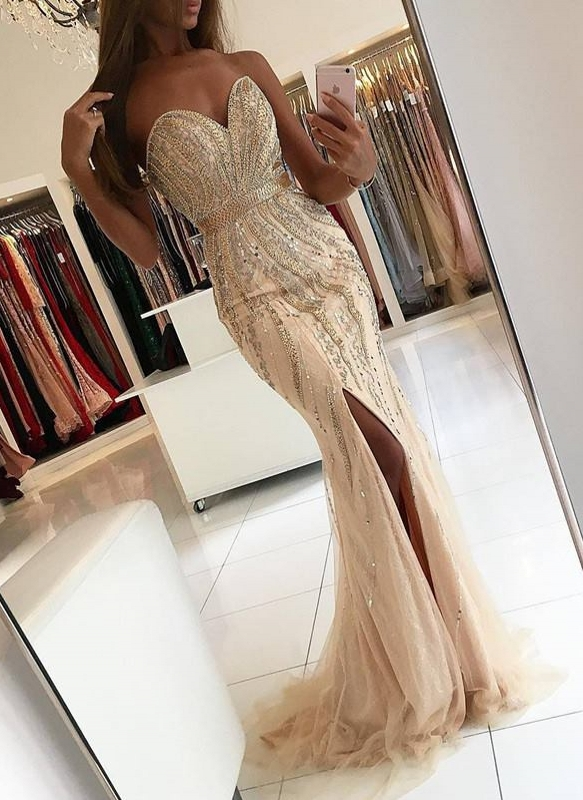 Luxury Beading Mermaid Prom Dresses | Sweetheart Side-Slit Evening Dresses Sweep Train