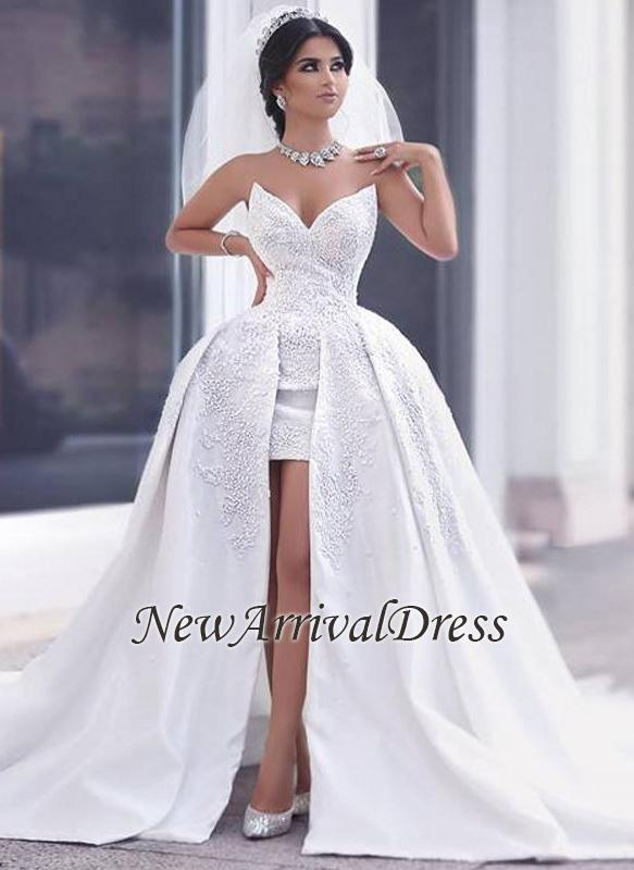 Puffy Overskirt Lace Gorgeous Strapless Appliques Ball-gown Wedding ...