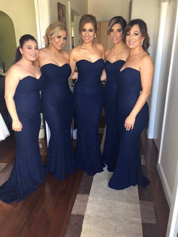 Simple Sweetheart Lace Mermaid Bridesmaid Dresses Floor Length Prom Dresses
