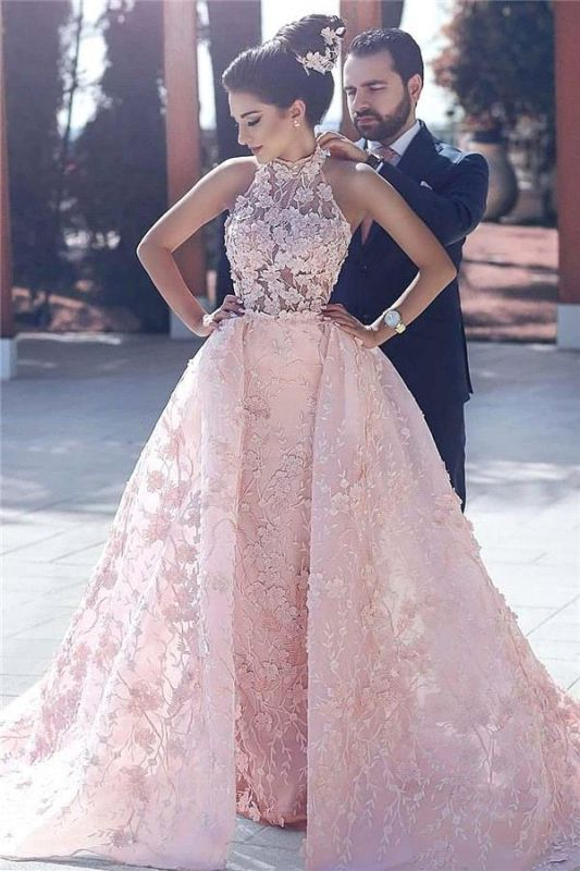 Lace-Appliques Halter Sleeveless Pink Glamorous Evening Dress