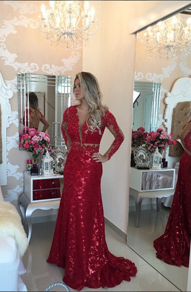 Glamorous Red Mermaid Sequins Prom DressLace Appliques Backless