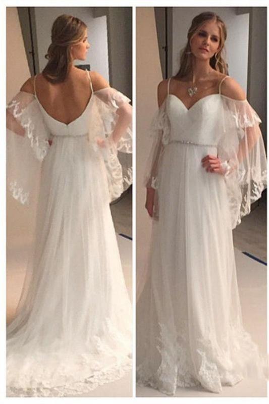 Spaghetti Straps Retro Wedding Dresses Sexy | See Through Backless Cheap Bridal Gowns BA0545