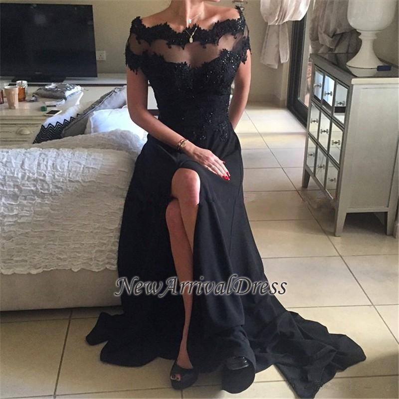 60eaa72621 New Off-the-Shoulder Black Split Short-Sleeves Appliques Prom Dress BA4367   Item Code  D153413446060736