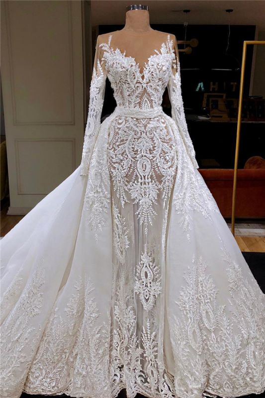 Long Sleeve See Through Tulle Wedding Dresses Cheap | Overskirt Lace Bridal Gowns Cheap 2020