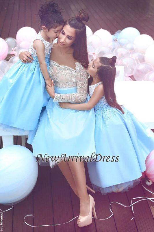 Sleeveless Elegant Lace Appliques White Flower-Gril Dresses