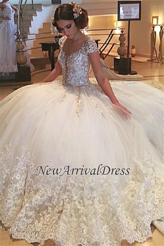97d42f061c Lace Cap-Sleeves Gown Gorgeous Tulle Ball Crystals Beaded Wedding Gowns   Item Code  D153413439764975