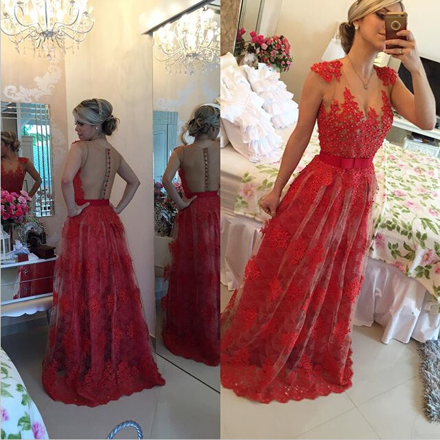 Sexy Red Pearls Lace Evening DressSheer Floor-Length BT0