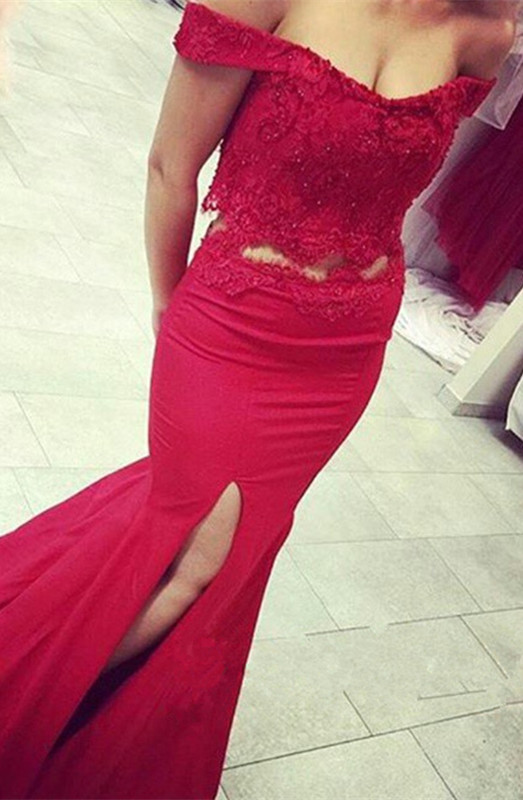 Newest Off-the-shoulder Two Piece Red Lace Beading Prom Dress