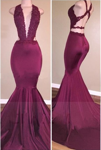 Mermaid Deep V-Neck Beads Cris-cross Back Long Prom Dresses Cheap