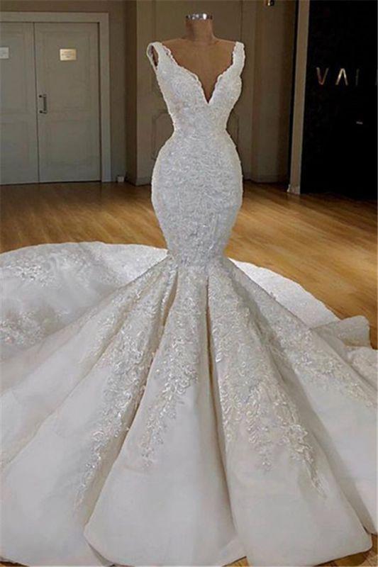Robes de mariée en dentelle élégante sirène en ligne | Robes de mariée gonflées sans manches 2020