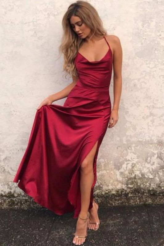 3fc548417e8 Sexy Red Sleeveless Front Split Long Backless Prom Dress BA7054  Item Code   D153793129178513