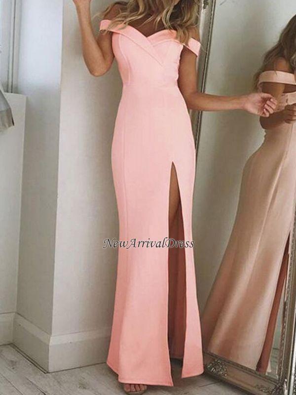 Sheath Elegant Long Off-The-Shoulder Side-Slit Prom Dresses