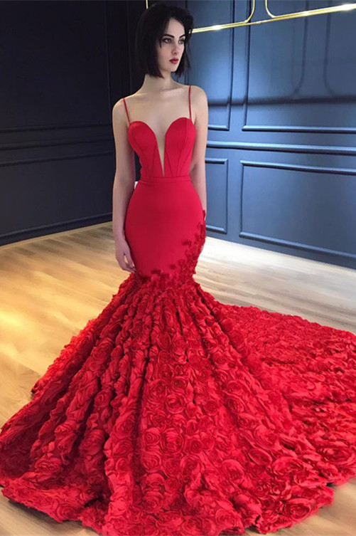 Red Spaghetti-Strap Prom Dress |Evening Dress With Flowers Bottom BA8856