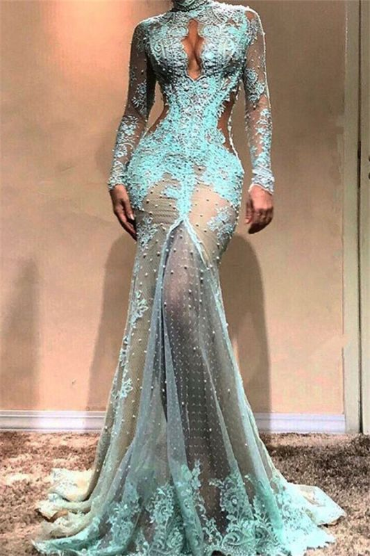 Sexy Lace Pearls Long Sleeve Evening Dress | Keyhole Evening Gown