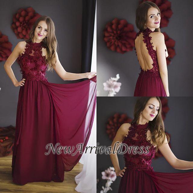 6c38d66bf5f Sheath Burgundy Chiffon Halter Lace Floor-length Sleeveless Prom Dress   Item Code  D153413447470459