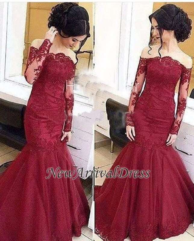Tulle Amazing Lace Long-Sleeve Burgundy Mermaid Off-The-Shoulder Prom Dresses