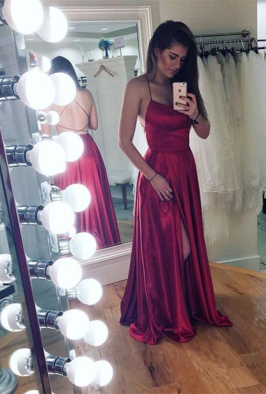 32737984aef Spaghetti strap prom dress with slit