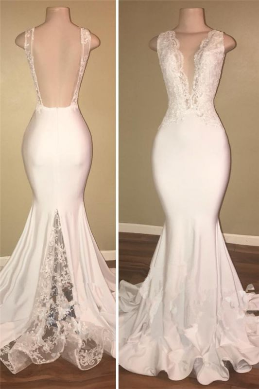 V-neck Open Back Long Prom Dresses Cheap with Lace | Mermaid Sleeveless Formal Dress