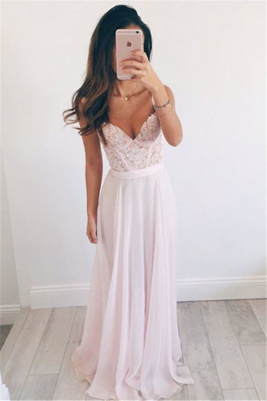 New Arrival Straps Lace Formal Dresses Cheap V-neck Summer Party Gowns BA2665
