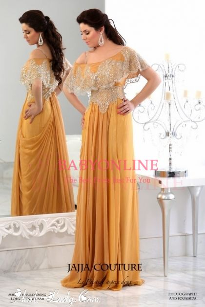c1b9b38344 Golden Prom Dresses Elegant Chiffon Appliques Lace Beading Sweetheart Short  Sleeves Floor Length Evening Gowns BO35 [Item Code: BO3541]