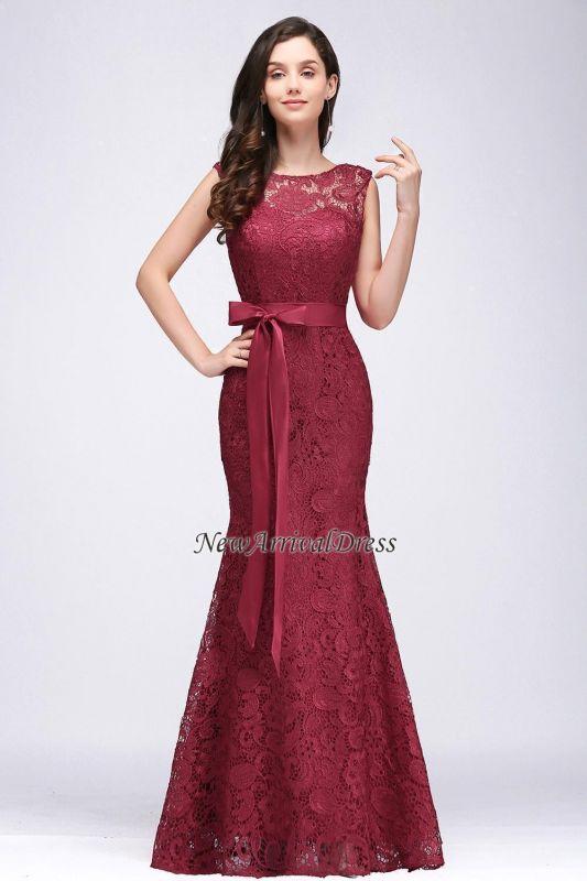 Floor-Length Sleeveless Burgundy Bowknot-Sash Mermaid Lace Prom Dresses