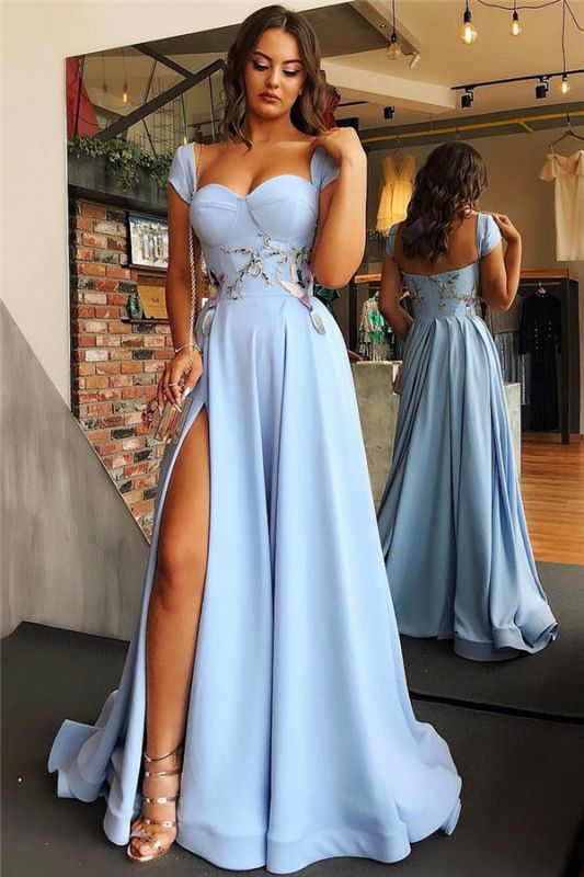 Open Back Blue Formal Evening Dress Long | Sexy Side Slit Online Prom Dresses Cheap bc1747