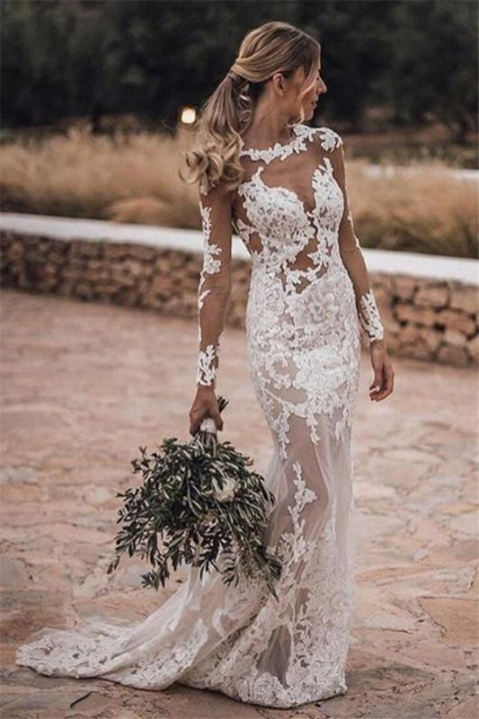 See Through Lace Beach Wedding Dresses Simple   Close-fitting Cheap Long Sleeve Outdoor Bridal Gowns