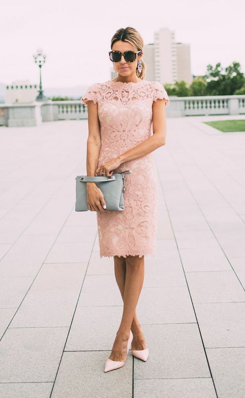 Lace Blushing Pink Formal Dresses | Knee Length Wedding Party Dress Cheap Online