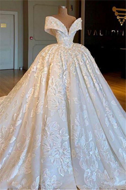 Gorgeous Off Shoulder Lace Wedding Dresses | 2019 Bridal Ball Gown Online