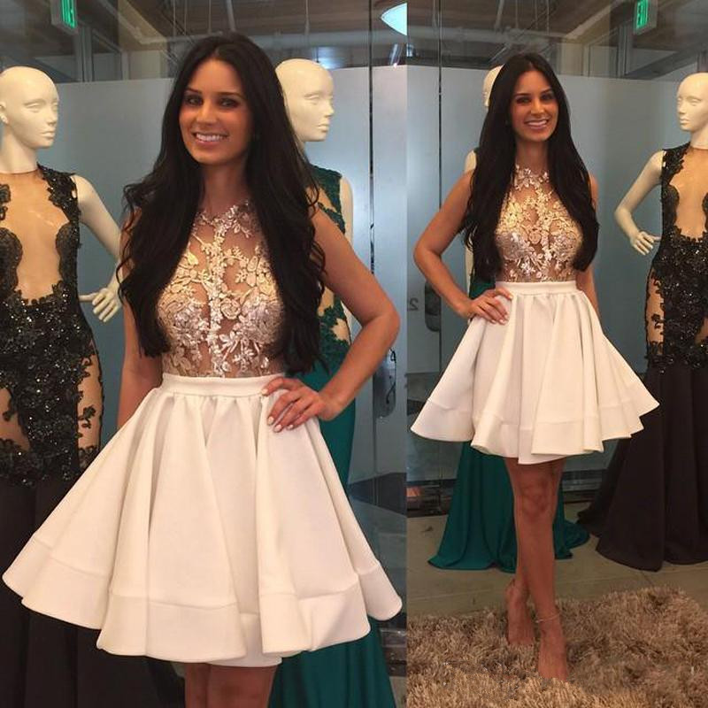 Sheer Mini Appliques Pretty High-Neck Lace Puffy-Skirt Homecoming Dresses