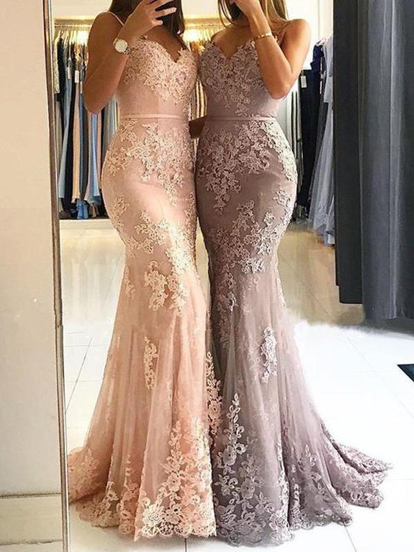 Modest Lace Spaghetti Strap Mermaid Evening Dress   Sleeveless Evening Gown