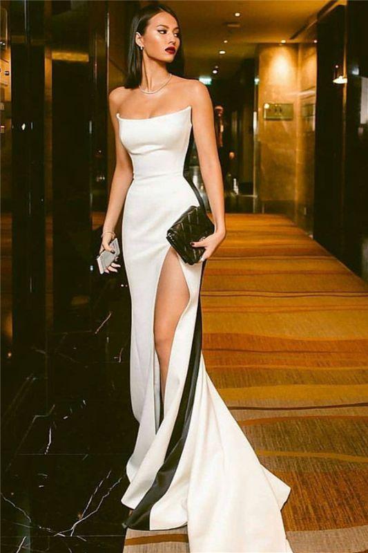 Strapless Long Side Slit Formal Dresses Cheap Online | Black White Sleeveless Cheap Formal Party Dress  BC0527
