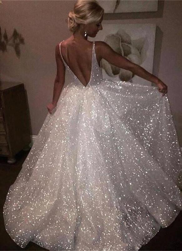 Sparkling Sequins Open Back Long Formal Dresses | Sleeveless Wedding Dresses