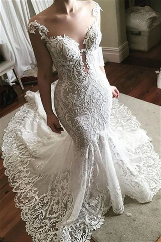 Sexy Lace Mermaid Wedding Dress 2019 | Glamorous Sheer Tulle Bridal Gowns with Buttons