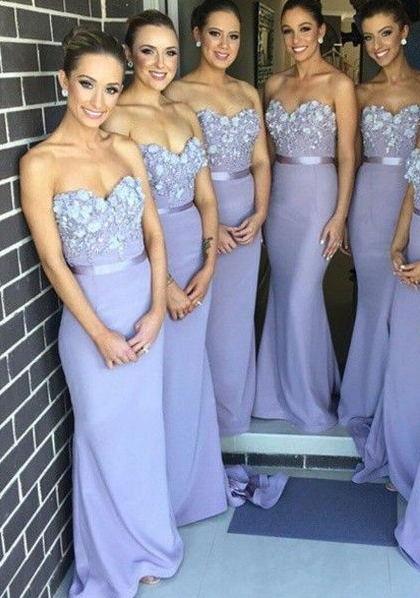 Lavender Mermaid Long Bridesmaid Dresses Sweetheart Handmade Flowers Maid of Honor Dresses