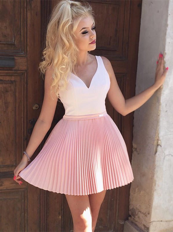 Cute Pink Beads Ruffled Short Homecoming Dress | Mini Party Gown