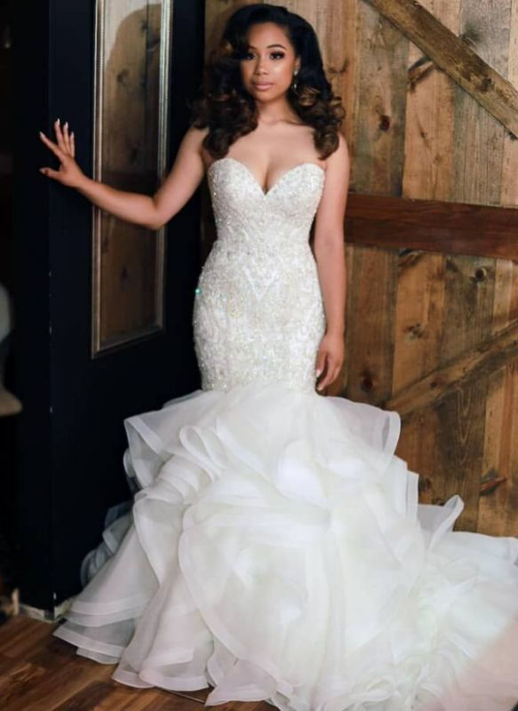 Sexy  Mermaid CheapBeaded Wedding Dresses | Sweetheart Neck Ruffles Skirt Bridal Gowns
