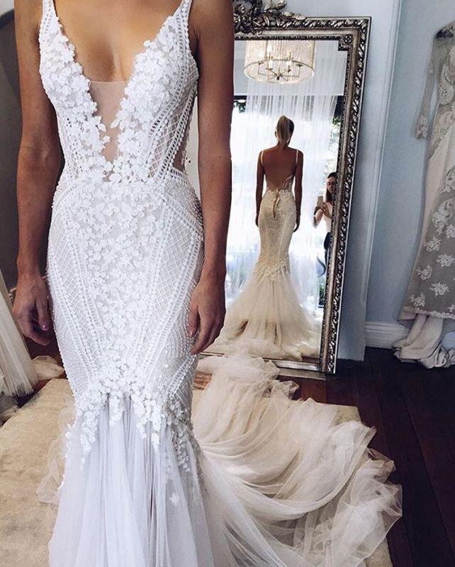 Custom Made Elegant Lace Appliques V-Neck Mermaid Open Back Wedding Dress Cheap