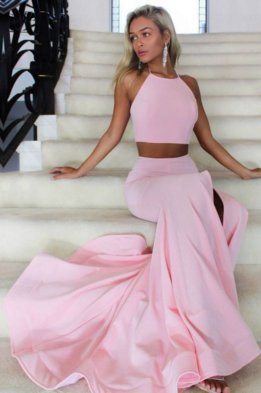 Two Piece Prom Dresses Mermaid Backless Long Evening Gowns