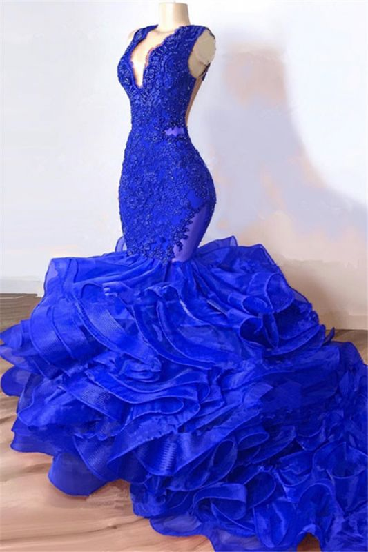 Royal Blue Mermaid Junior Long Prom Dresses Cheap | V-Neck Sleeveless Plus Size Evening Dress