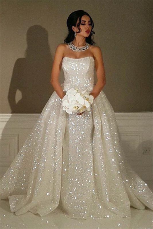 Sparkly Sequins Overskirt Wedding Dresses 2021 | Strapless Luxury Sexy Bride Dresses Cheap Online