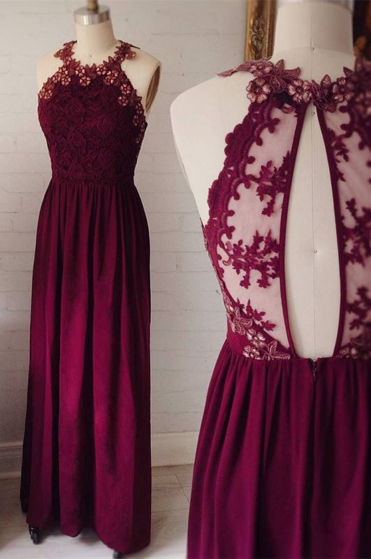 Delicate Lace Appliques Jewel Sleeveless Custom Made A-line Prom Dresses Cheap