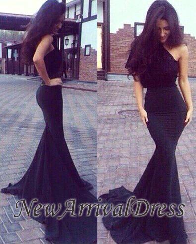 Elegant Black One-Shoulder New Mermaid Prom Dresses