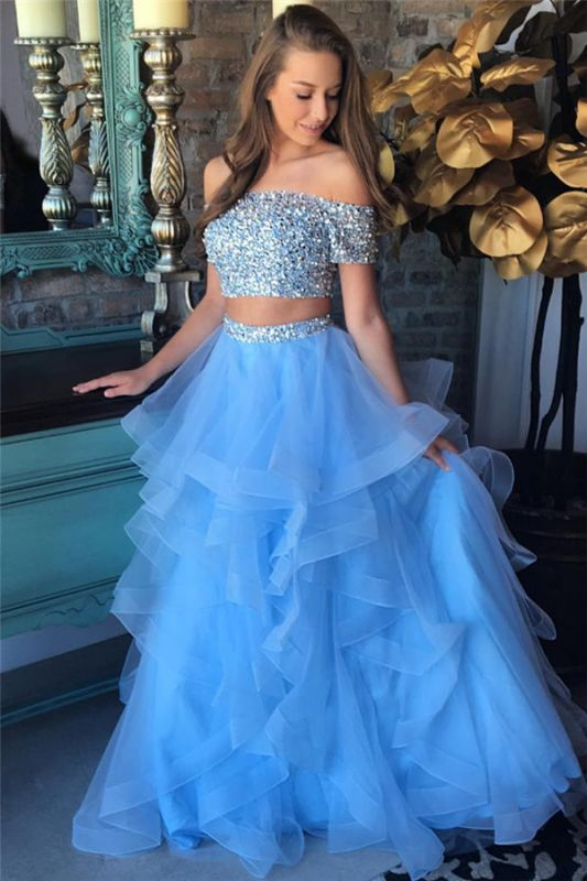Off the Shoulder Crystals Beads Two Piece Prom Dress Blue Organza Tiere Ruffles Formal Gowns FB0227