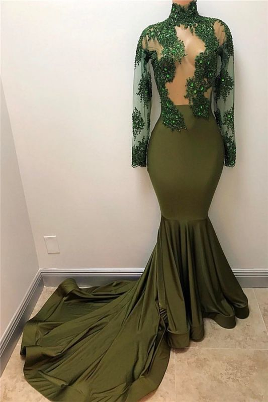 Olive Green Long Sleeve Long Prom Dresses Cheap Plus Size   High Neck Mermaid Formal Evening Gowns BA7958