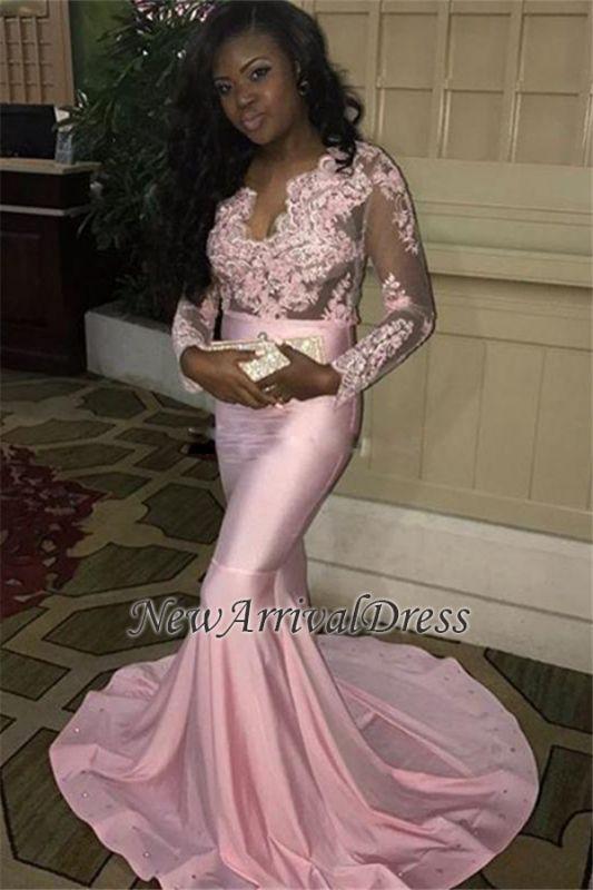 c575f90b957 Sweep-Train V-neck Long Lace-Appliques Mermaid Pink Long-Sleeves Evening  Dress  Item Code  D153413443551421