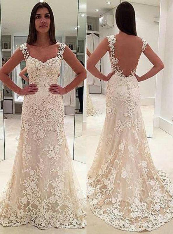 Sleeveless Straps Beautiful Lace Mermaid Open Back Elegant Wedding Dresses